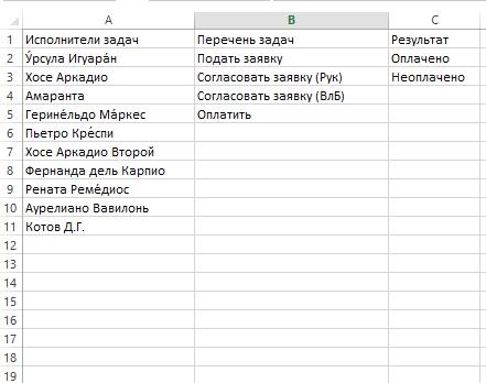 Справочники в Excel